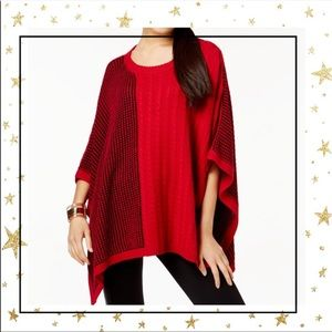 Two by Vince Camuto Red Poncho Knit sweater